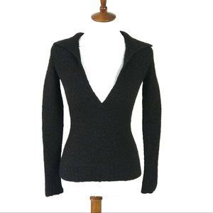 Moda Int'l wool blend vneck fitted top Small